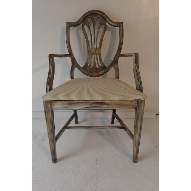 Ducan Phyfe Style Side Chair Distressed Decor Finish 38.5H x 23D x 24W ; Taupe/Beige, Mahogany. We deliver to most zip...
