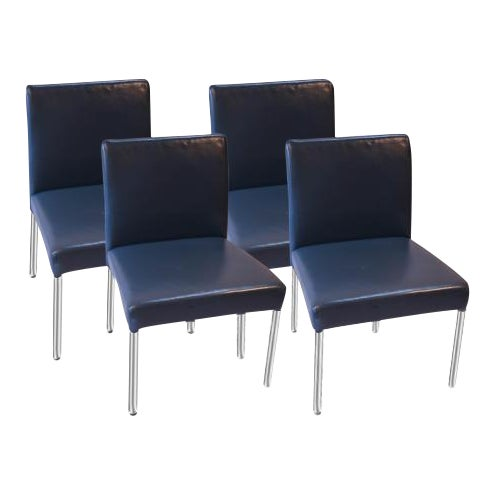 Brayton International Modern Blue Leather Side Dining Chairs - Set of 4 For Sale