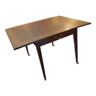 1950s Baker Furniture Company Dropleaf Mahogany Inlaid Table