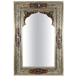 Moroccan Silvered Metal and Leather Wrapped Mirror For Sale