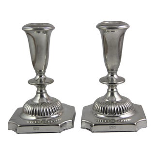 Vintage Empire Pewter Candlestick Holders - A Pair For Sale