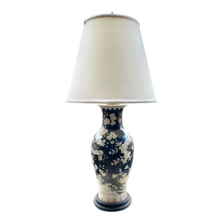 Chinoiserie Chic Black Lamp Featuring Cherry Blossoms and Dragons For Sale