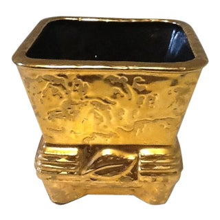 Vintage Mid-Century Weeping Gold Pottery Planter in 24k Gold For Sale