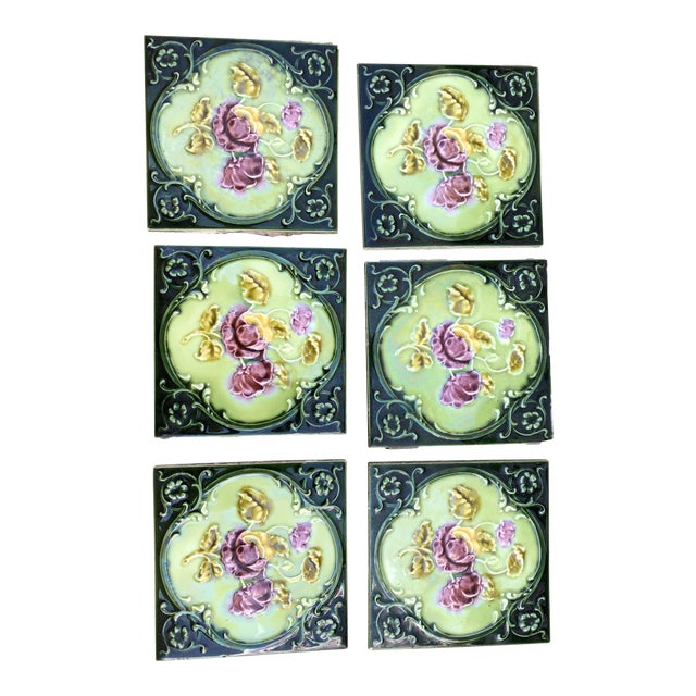 Antique English Art Nouveau/Victorian Era Raised Relief Ceramic Tiles Floral Pattern - Set of 6 For Sale