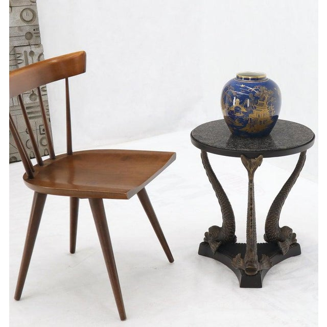 Bronze Triple Dolphins Base Granite Top Round Side End Table Pedestal For Sale - Image 4 of 12