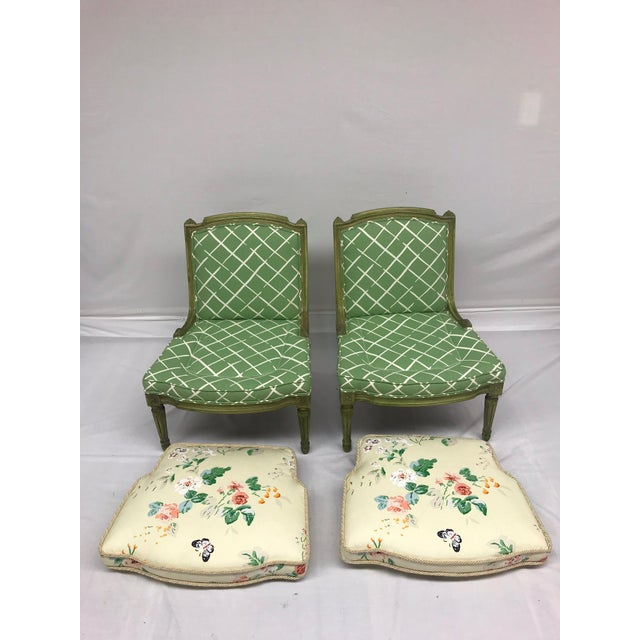 French Style Green-Painted Slipper Chairs - A Pair For Sale In Greensboro - Image 6 of 13