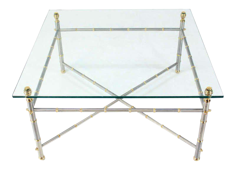 Metal Faux Bamboo, Chrome And Brass Base, Glass Top Square Coffee Table For