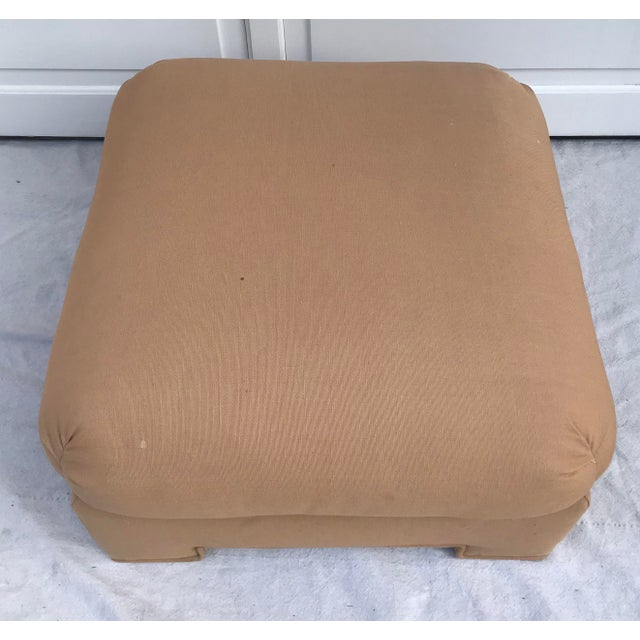 1979 Upholstered Soufflé Style Modern Pink Ottoman For Sale - Image 4 of 13