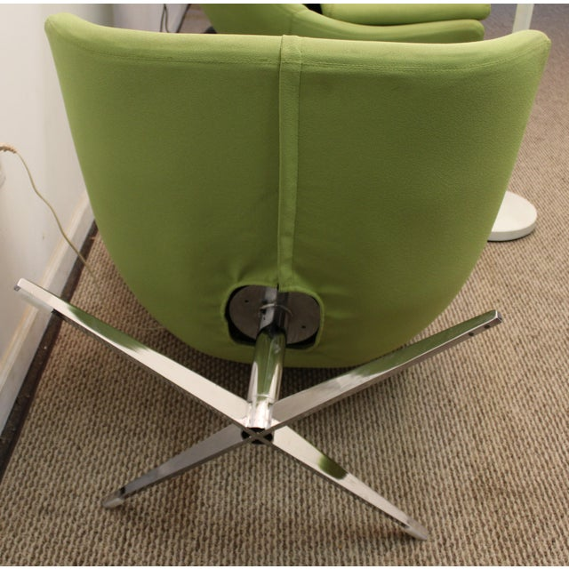 Mid-Century Lime Green Swivel Lounge Chair & Ottoman - Image 11 of 11