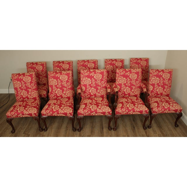 High Quality American Made Carved Solid Mahogany Frame Set of 10 Dining Chairs with Custom Upholstery - Unsigned Maker -...