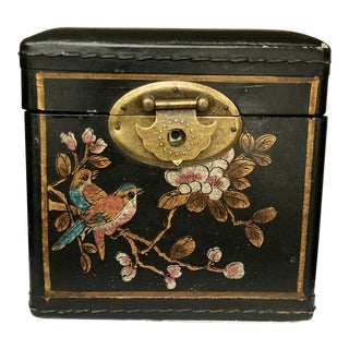 1940s Vintage Chinoiserie Hand Painted Tissue Box For Sale
