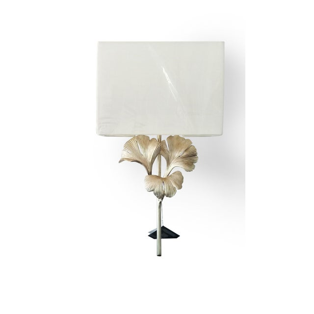 Art Deco Currey and Co. Gingko Silver Wall Sconce For Sale - Image 3 of 3