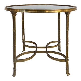 Brass & Granite Gueridon Table W/Faux Bamboo Legs in the Style of Maison Jansen For Sale