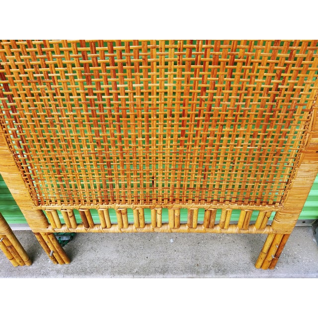 1970s Boho Chic Handwoven Bamboo & Rattan Cane Twin Headboards - a Pair For Sale - Image 5 of 13
