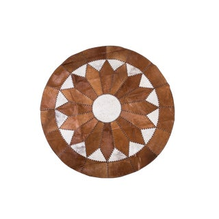 "Cowhide Patchwork Round Area Rug - 5'10""x5'10"" For Sale"