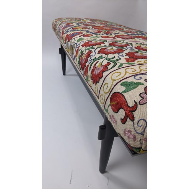 Red Antique Suzani Upholstered Bench For Sale - Image 8 of 9