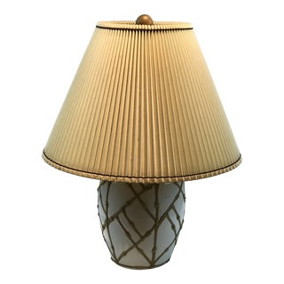 1960s Chinoiserie Faux Bamboo Ceramic Table Lamp For Sale