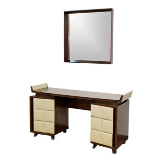 1930s Art Deco Gilbert Rohde for Herman Miller Mahogany Vanity & Mirror - 2 Pieces For Sale
