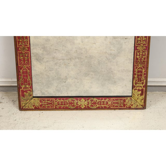 "Wood Queen Anne Reverse-Painted ""Verre Eglomise"" Mirror For Sale - Image 7 of 10"