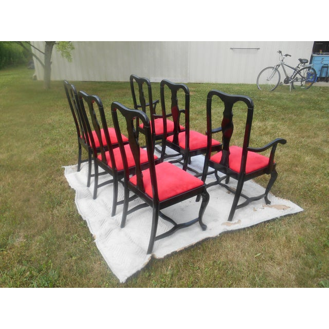 Fabric Sculptural Black Lacquer & Red Suede Italian Dining Chairs-Set of 6 For Sale - Image 7 of 9