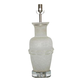 Vintage Murano Glass Cendese Table Lamp Scavo Finish For Sale