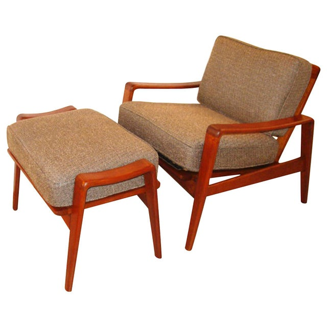 Vintage Arne Wahl Iversen Chair and Ottoman Two Sets For Sale - Image 11 of 11
