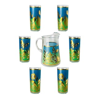 Mid-Century Blue and Gold Butterflies and Flowers Glass Tumblers - Set of 9 For Sale