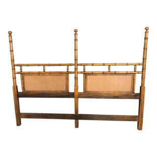 1970s Vintage Faux Bamboo King Size Headboard For Sale