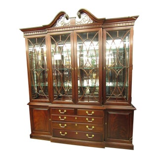 Thomasville Mahogany China Cabinet Breakfront For Sale