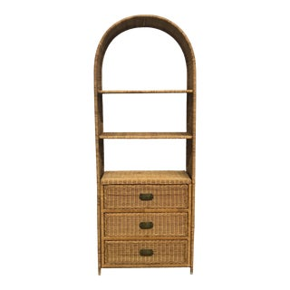 1970s Boho Chic Rattan Etagere With Drawers