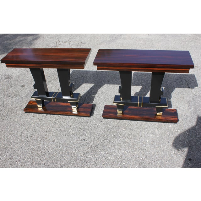 Classic Pair of French Art Deco Exotic Macassar Ebony Console Tables, Circa 1940s For Sale - Image 11 of 13
