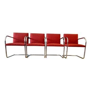 Set of 4 Mies Van Der Rohe Brno Tubular Chrome Armchairs For Sale