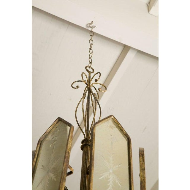 Italian Etched Mirror Panel Hanging Candlestick Chandeliers For Sale In Los Angeles - Image 6 of 11