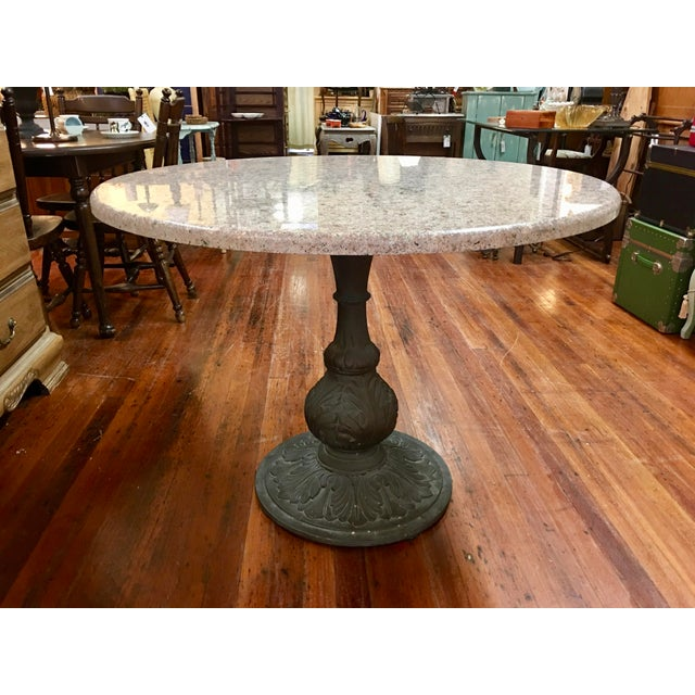 Antarenni Cast Iron Granite Top Breakfast Table Chairish - Granite top breakfast table