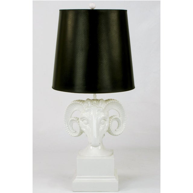 Detailed ram's head table lamp constructed of white glazed ceramic pottery. Originally sold through Chapman Manufacturing...