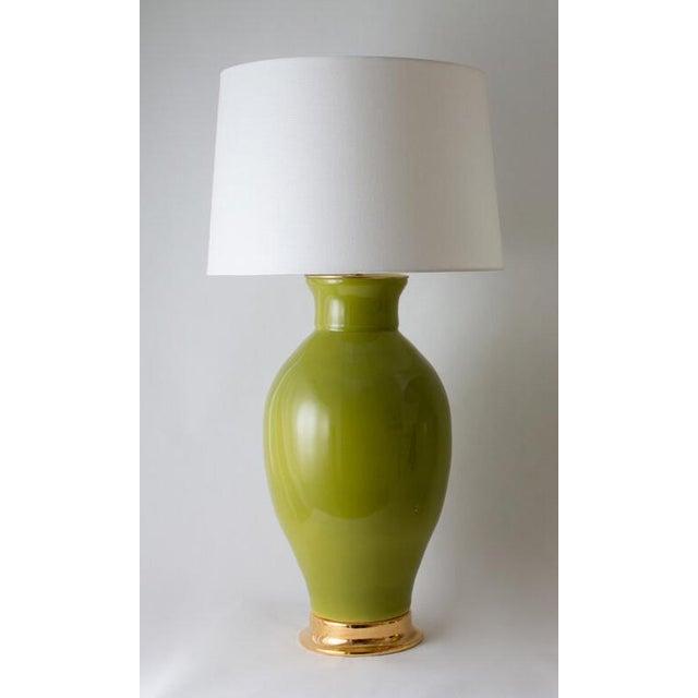 "Paul Schneider Ceramic ""Matagorda"" Lamp in Glossy Olive Glaze For Sale In Dallas - Image 6 of 6"