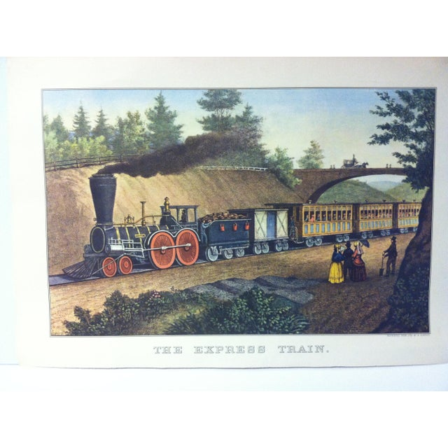 "This is a reproduction of a Currier & Ives color print that is titled ""The Express Train"". The print is dated 1956 and is..."