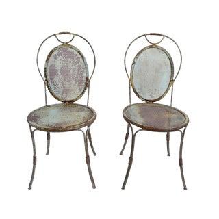 Vintage Iron Garden Chairs - Pair