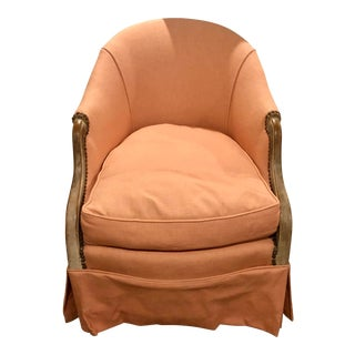 Vintage Salmon Barrel Chair With Nailhead Trim For Sale