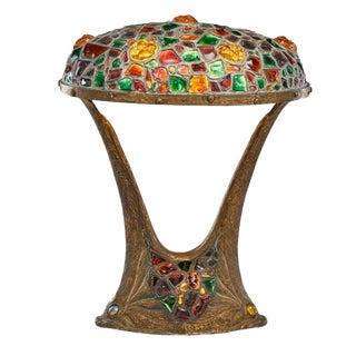 Large Art Nouveau Austrian Table Lamp With Fish at Base For Sale