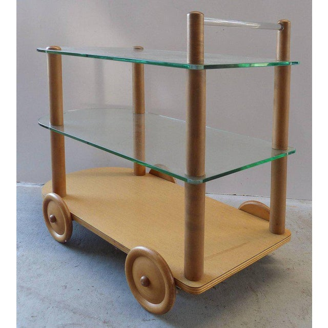 1940s 1940s Oak and Glass Two-Tier Bar Cart by Gilbert Rohde For Sale - Image 5 of 11