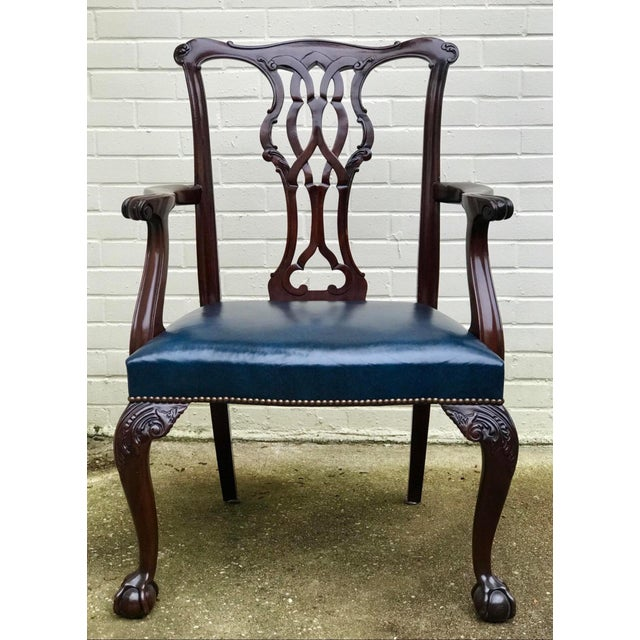 Blue Baker Furniture Chippendale Style Ball & Claw Arm Chairs - Set of 10 For Sale - Image 8 of 10