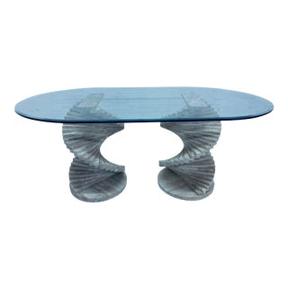 Italian Modern Spiral Stacked Travertine Dining or Center Table For Sale