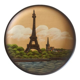 Pfaff Wooden Collectors Plate of Eiffel Tower For Sale