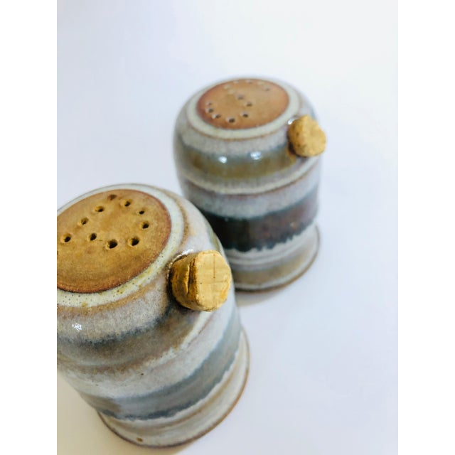 Mid 20th Century Vintage Mid-Century Stoneware Studio Pottery Salt and Pepper Shakers - a Pair For Sale - Image 5 of 8
