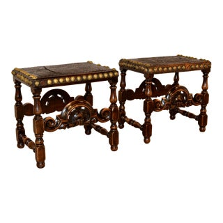 18th Century Spanish Walnut Stools - a Pair For Sale