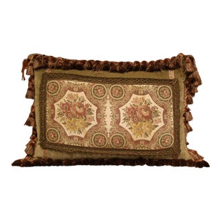 Handmade French Velvet Pillow With Floral Tapestry Fragment Medallion For Sale