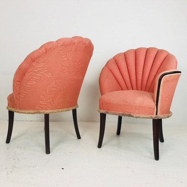 Mid 20th Century Pair of 40's Deco Opposing Channel Back Chairs For Sale - Image 5 of 10