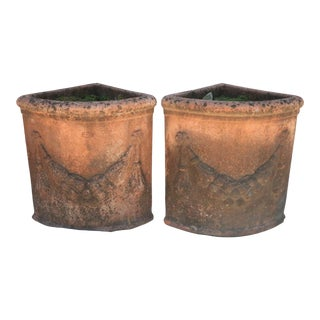 Italian 1/4 Round Terracotta Planters - A Pair For Sale