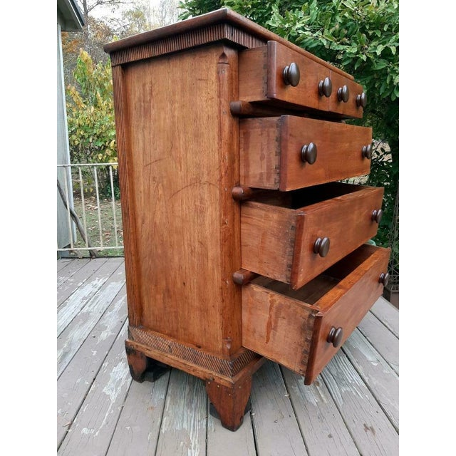 Late 18th Century Late 1700's Early 1800's Antique Primitive Farmhouse Solid Chestnut Chest of 5 Drawers For Sale - Image 5 of 13
